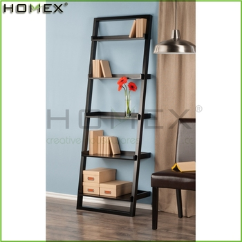 5 tier houten display ladder boekenkastzwart ladder plankhomex_bsci fabriek