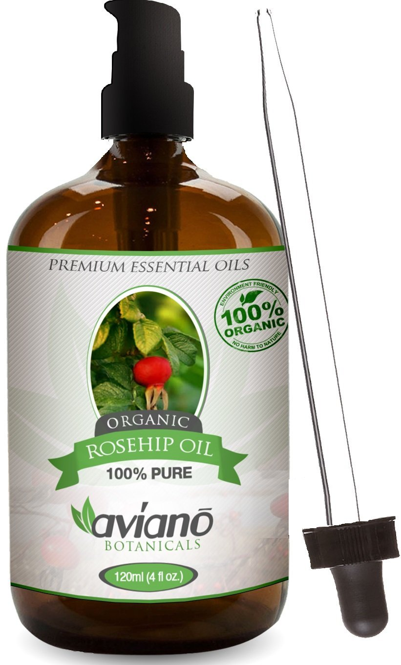 100% Pure Rosehip Seed Oil ORGANIC - HUGE 4 OZ Rose Hip Oil Bottle w/ Pump & Dropper - Cold Pressed Unrefined & Undiluted Essential Rosehip Oil for Skin, Hair, Body, Nails & Face by Aviano Botanicals