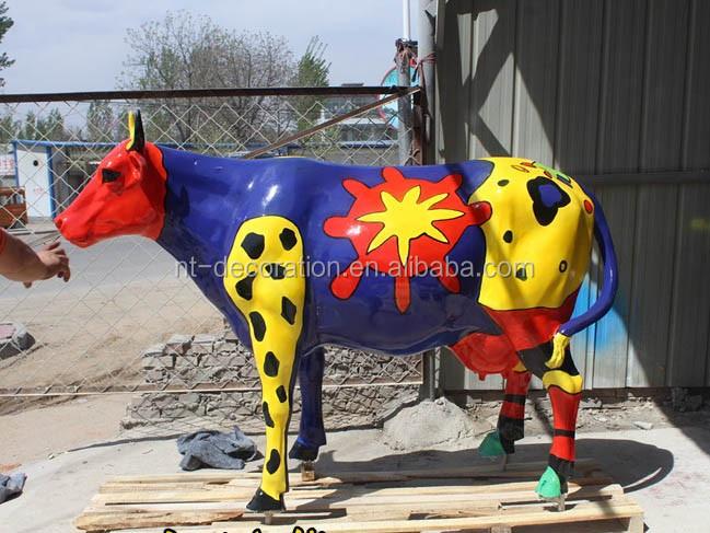 Vie Taille Vache Statue Résine Jardin Vache Pour Décoration ...
