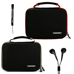 Dual Ultimate Travel Package Deal: Black Gray Case + Black Red Case (x2) Easy Travel with Maximum Protection Hard Nylon Cube Carrying Case for Philips PD7016 7-Inch Portable LCD Dual DVD Player + Includes a eBigValue Determination Hand Strap Key Chain + Includes a Crystal Clear HD Noise Filter Ear