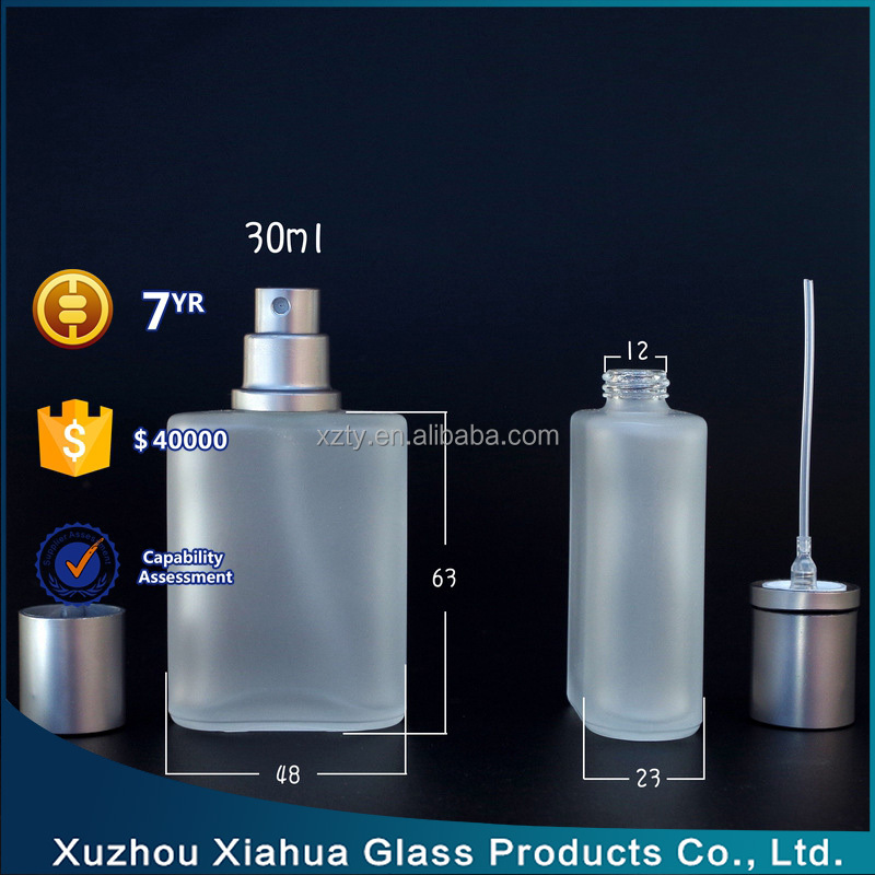 35ml frost glass perfume bottle with Pump Sprayer Cap