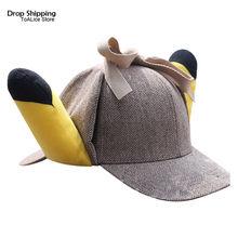 Крутой фильм Покемон Пикачу плюшевая ДЕТЕКТИВНАЯ шляпа с 3D ушами Косплей бейсбольная кепка игрушки подарок регулируемый размер(Китай)