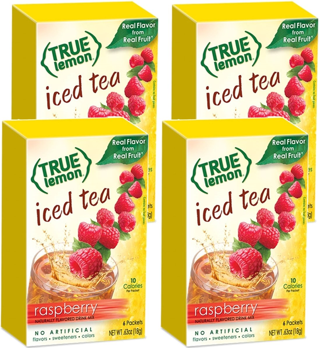 RASPBERRY ICED TEA MIX by TRUE LEMON | Instant Powdered Drink Packets That Quench YOUR Thirst, Kit Includes 4 Boxes, 24ct of Mouth Watering True Citrus RASPBERRY (ICED TEA)