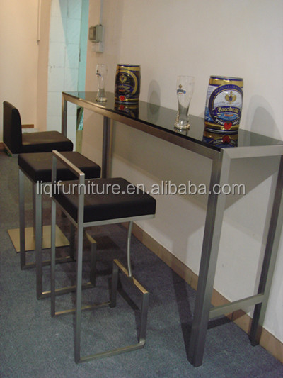 High Quality Brushed Stainless Steel Bar Table With Tempered Top Or Wood Lq Bt102s
