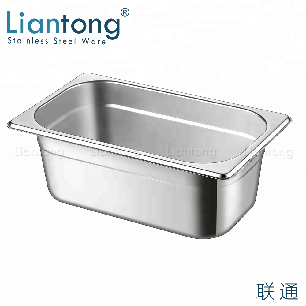 1 9 European Style GN Pan Stainless Steel Food Ice Cream Container Gastronorm Gelato Pan
