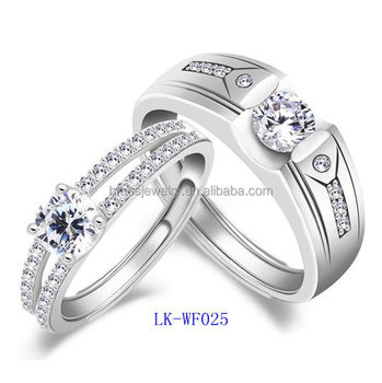 7671e295f2 Fashion New Model Promise Ring Set Custom White Gold 925 Silver Diamond Couple  Rings Wholesale