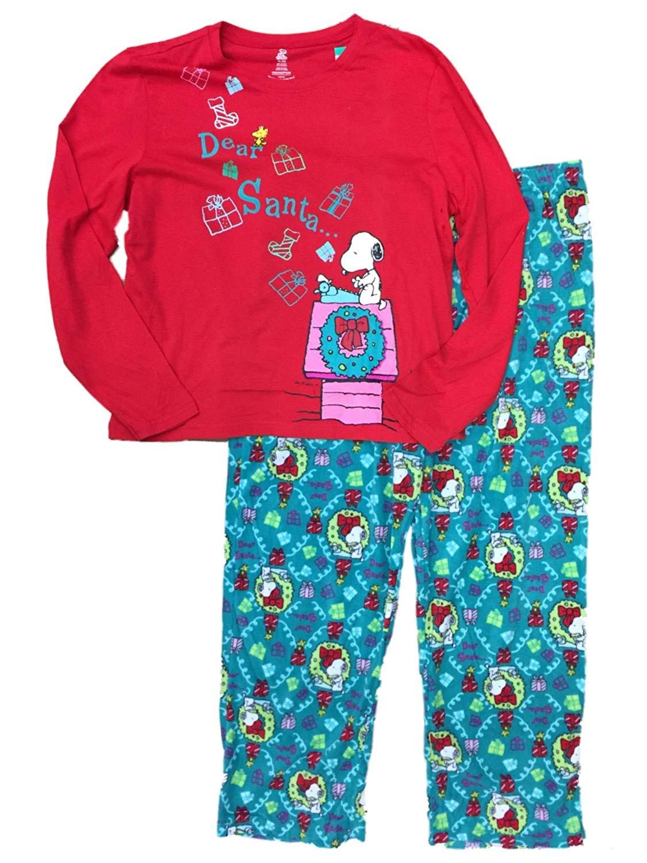 peanuts womens snoopy dog pajamas dear santa christmas stocking wreath sleep set