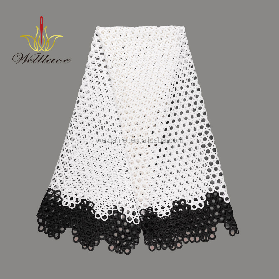 Wedding lace fabric guipure embroidery  black chemical embroidery lace white cord lace fabric