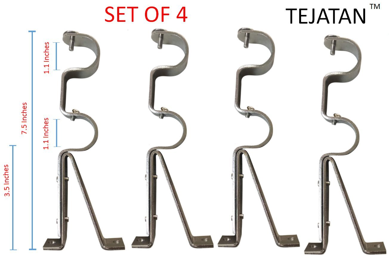 TEJATAN Double Curtain Rod Brackets - Silver (4)(Also known as - Double Drapery rod bracket set for Draperies / adjustable double curtain rod bracket)