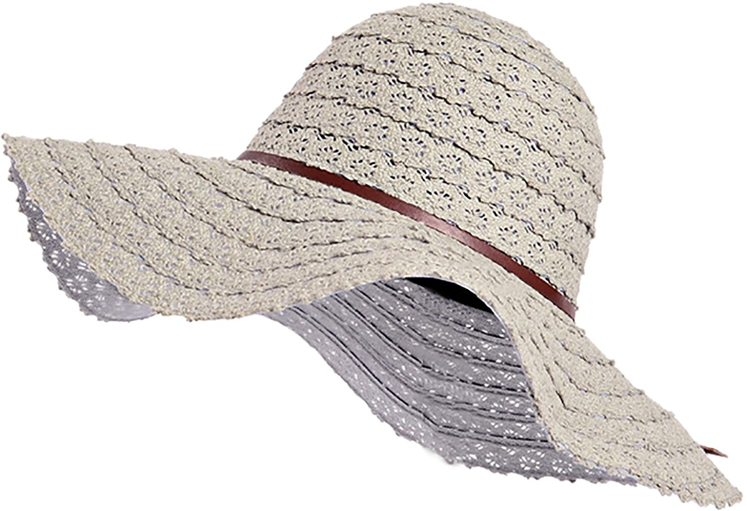 90706ae2650 Get Quotations · Ababalaya Women s Elegant SPF 50+ UV Protection Beachwear Sun  Hat Straw Hat