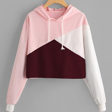 New Coming Short Body Long Sleeve Spliced Custom Hoodie Blank Crop Tops Wholesale Cheap