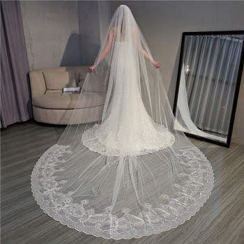 TS18004 2019 new big trailing end wedding veil beautiful sequins lace 3 meters