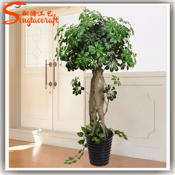 Indoor artificial money tree plant decorated