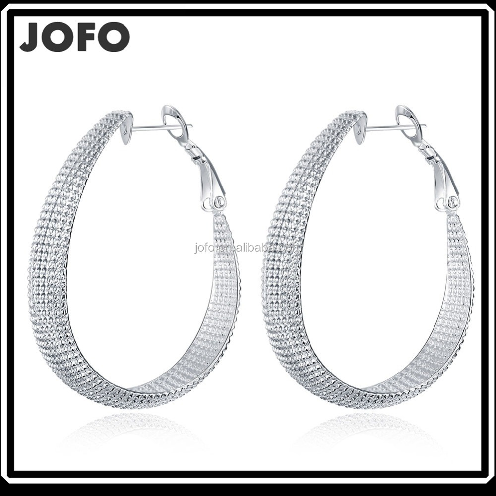 Elegant Jewelry 925 silver Charm hoop earrings Ear Studs solid Silver Hoop Dangle Earrings