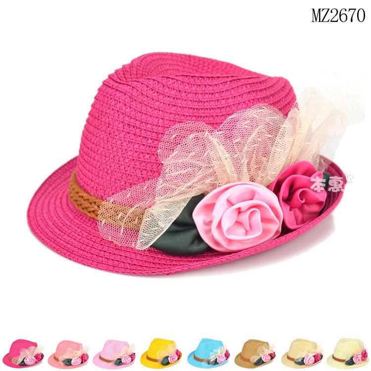 603b49b8860 Beautiful Rose Flowers Decorated Little Girls Fedora Sun Hat - Buy ...