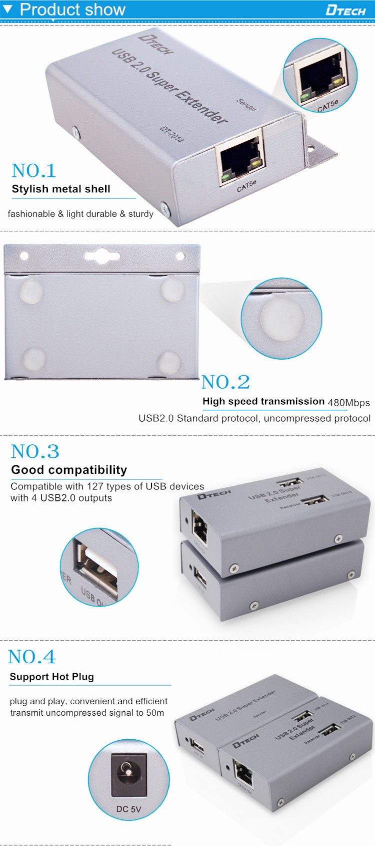 dtech 127kinds devices usb2.0 4 ports 50m extender