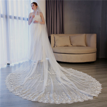 TS17155 Beautiful lace large trailing tail yarn foreign trade wedding dress accessories bride