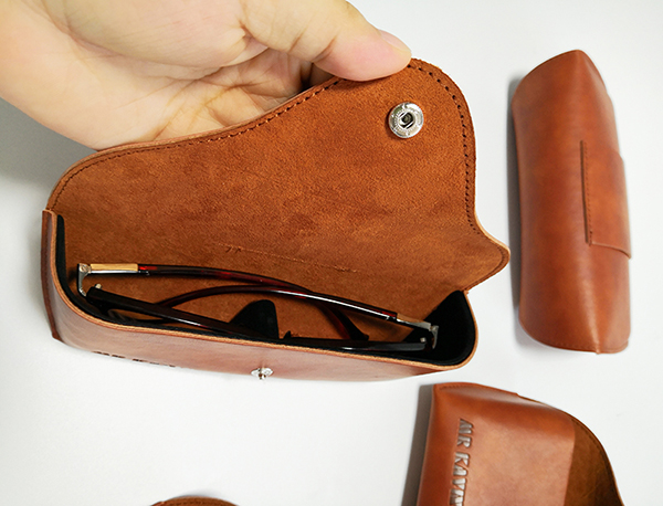 Durable thermo PU leather glasses sunglasses case custom logo