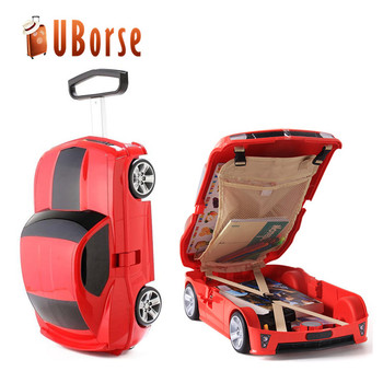 New Car Shape Kids Rolling Luggage Case Trolley With 6 Wheels