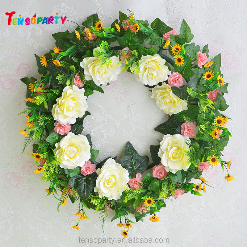 Wholesale artificial wedding Indian flower garland silk flower garland plastic garland for christmas and wedding