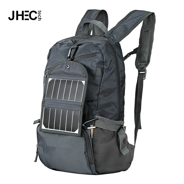 Wholesale foldable solar charger travel bag solar backpack with 2000mah battery pack for hiking,travelling,camping