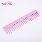 Color custom pink wide tooth hair plastic comb for women curly hair