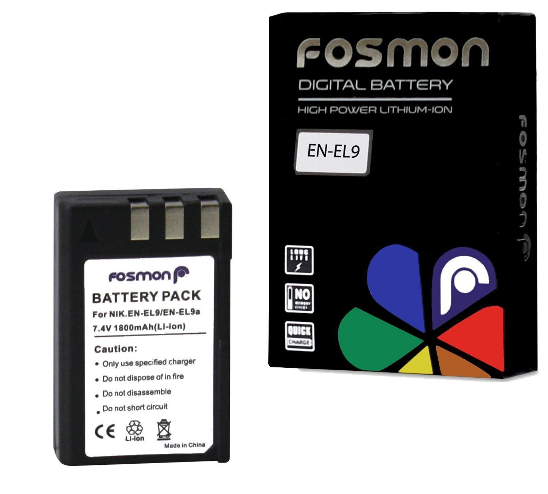 Fosmon Replacement EN-EL9 / EN-EL9A Battery (1800 mAh) for Nikon D5000 D3000 D60 D40 SLR Cameras