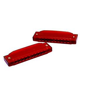 Dazzling Toys Kids Clearly Colorful Translucent Harmonica - Pack of 2 4 Inch Red Harmonica, Model: , Toys & Play