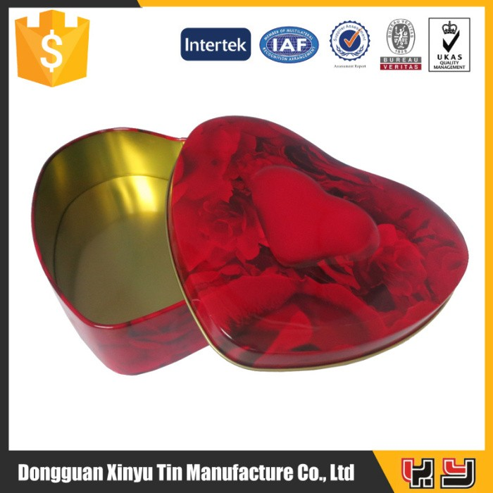 Cheap Heart Shaped Empty Tin Container packing chocolate boxes