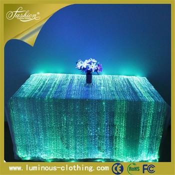 Superieur Hot Light Up Luminous Led Fiber Optic Made In China Table Cloth Dubai Party
