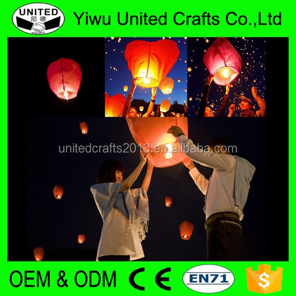 Romantic Chinese Flying Wish Lights Outdoor Paper Lamp Fire Balloons Party