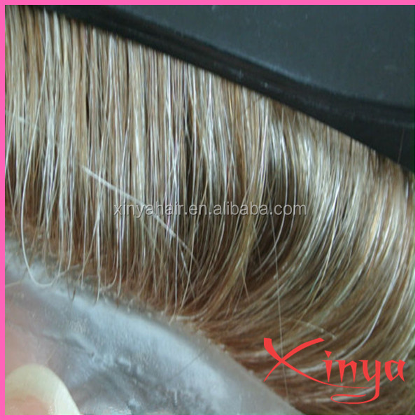 Wig blonde short human hair,wavy indian hair cheap toupee ,hair replacement system