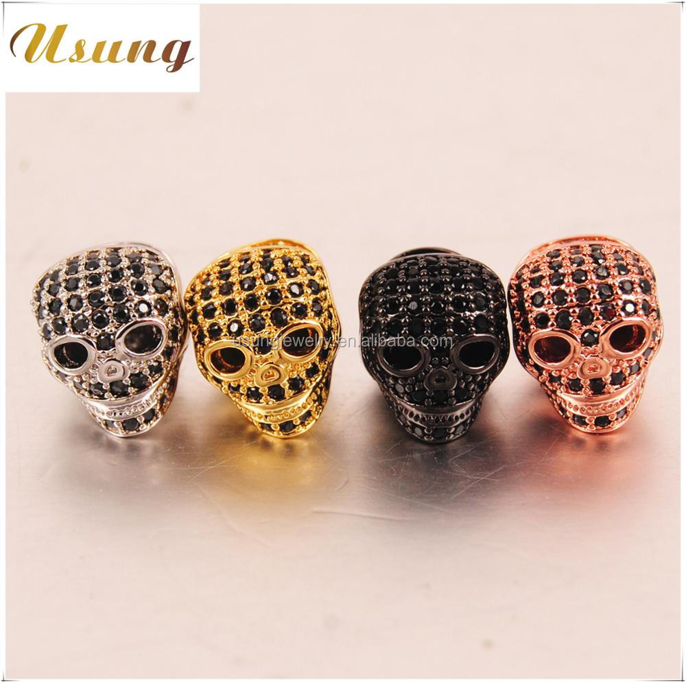 Wholesale mens bracelet Skull Accessories for make bracelet antique silver gold-plated