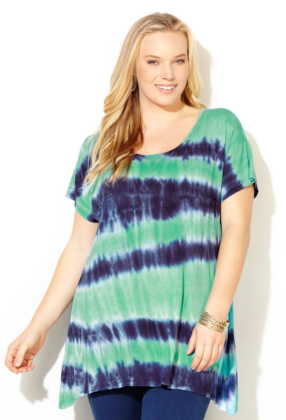 Dolman Sleeve Plus Size Tie Dye Tunic T Shirt Fat Women