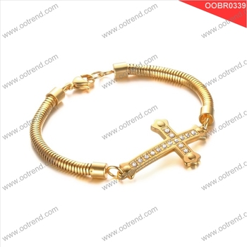 18K gold PVD plating sideway cross crystal inlaid girl bracelet jewelry