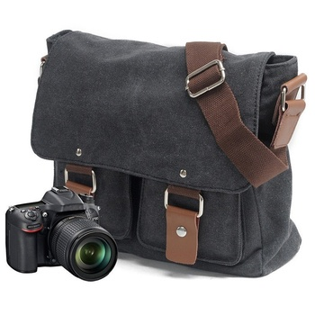 Custom Waterproof Messenger Dslr Camera Canver Camera Messenger Bag