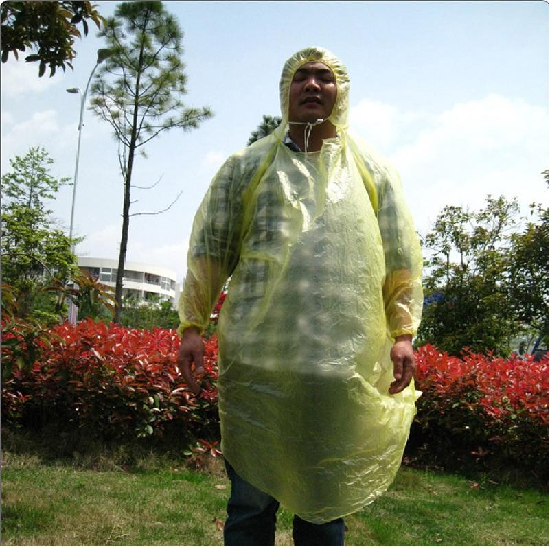 Высокое качество одноразовые плащ шеи веревку рукав ребра взрослых аварийного водонепроницаемый капюшон PonchoTravel кемпинг должны пальто дождя унисекс