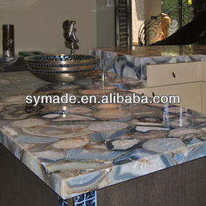 Semiprecious stone slab/ solid blue agate slab/ colored agate countertop