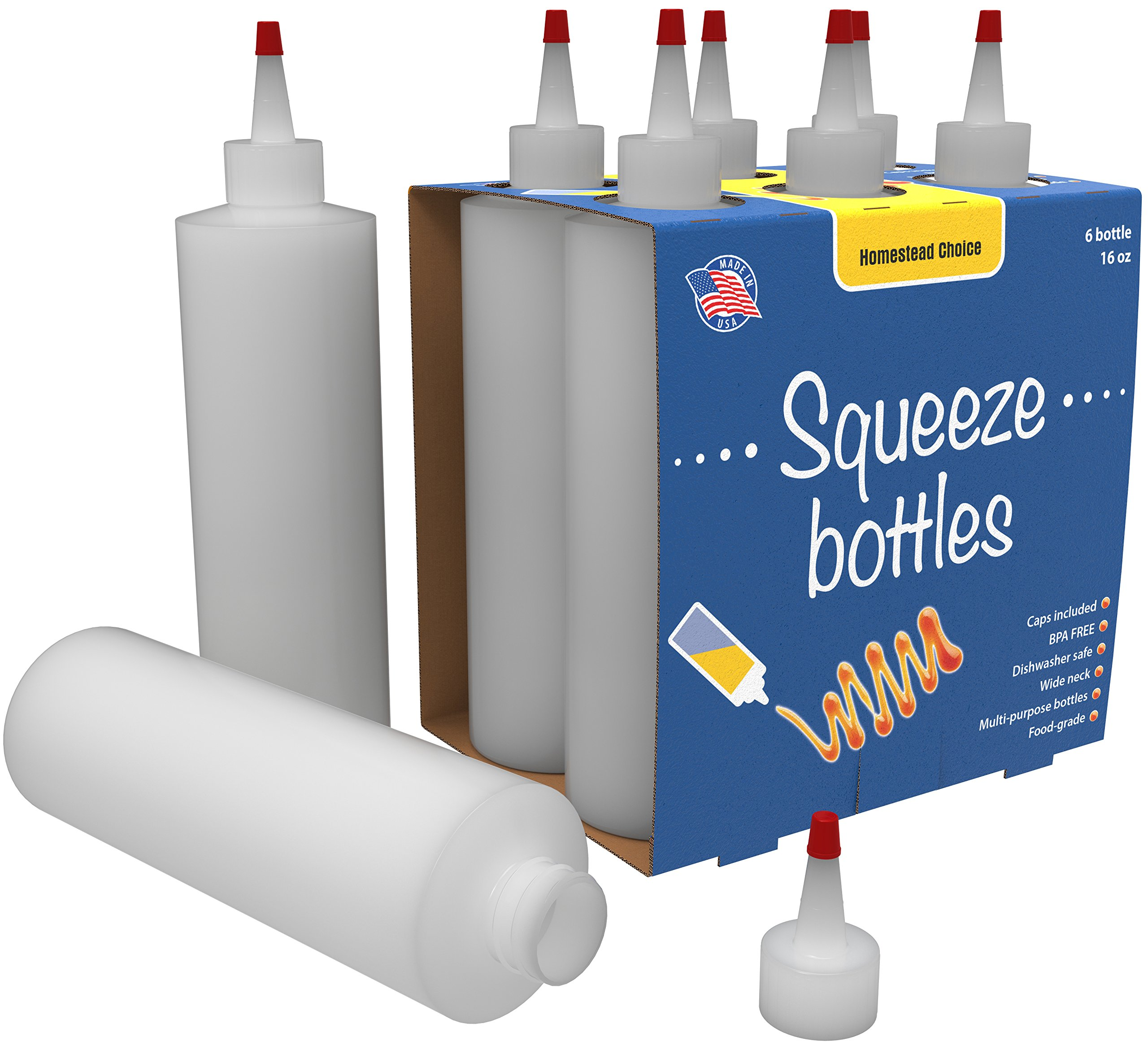 Bonus 7-pack Plastic Squeeze Condiment Bottles 16-Ounce With Red Cap Set of 7 16-oz (Perfect For Syrup, Sauce, Ketchup, BBQ, Condiments, Dressing, Arts and Craft, Workshop, Storage, and More)