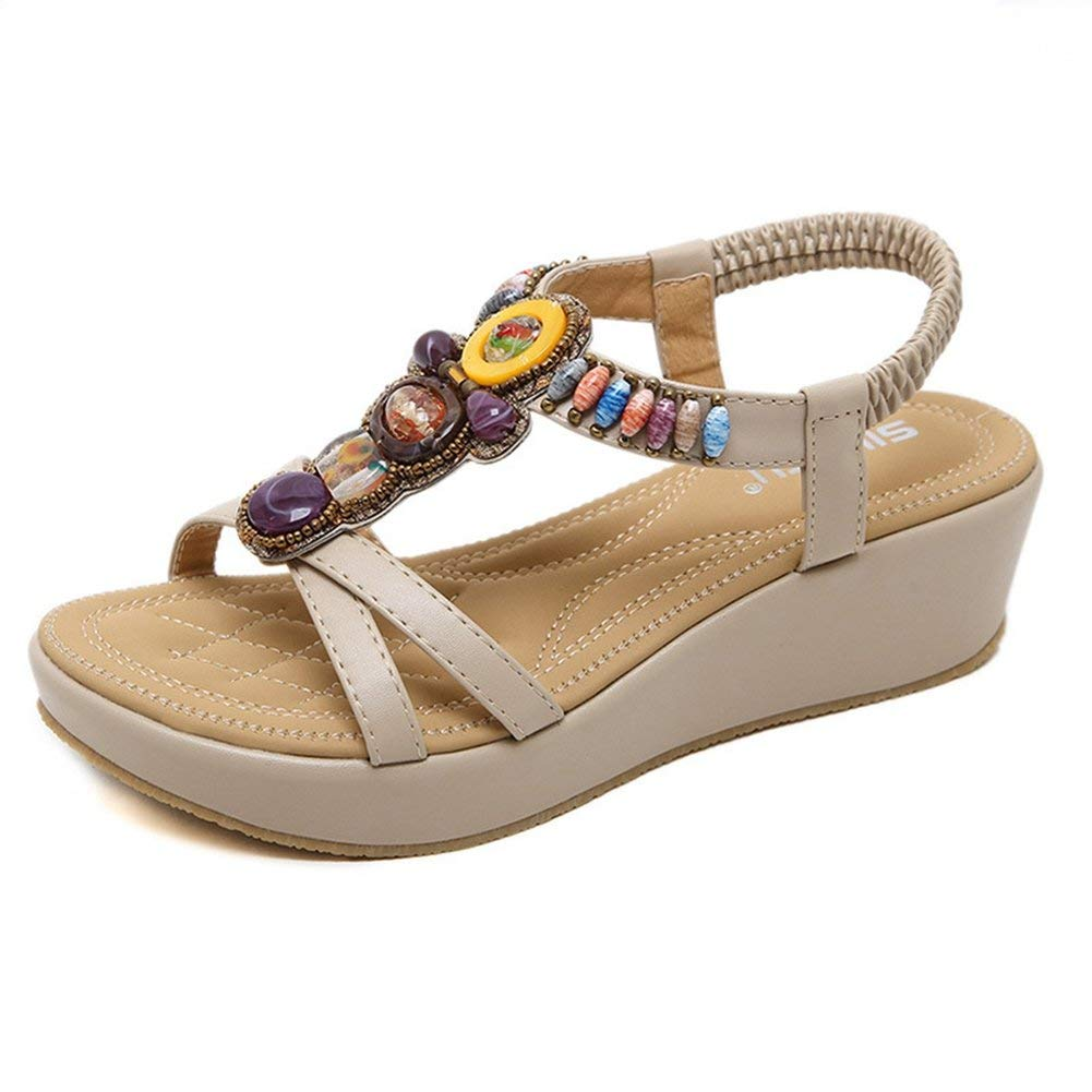 271266695302 Get Quotations · JINANLIPIN Women s Beaded Bohemian Platform Sandals  Comfort Summer Wedge Besch Sandal