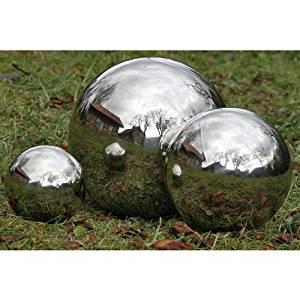 "Sunflower-Design Sphere Stainless Steel Water Sphere Garden Ball Silver Glossy 13.78"""