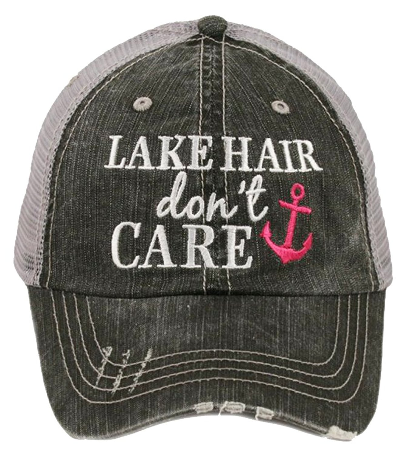"""Embroidered """"Lake Hair Don't Care"""" Washed Out Grey Trucker Cap"""