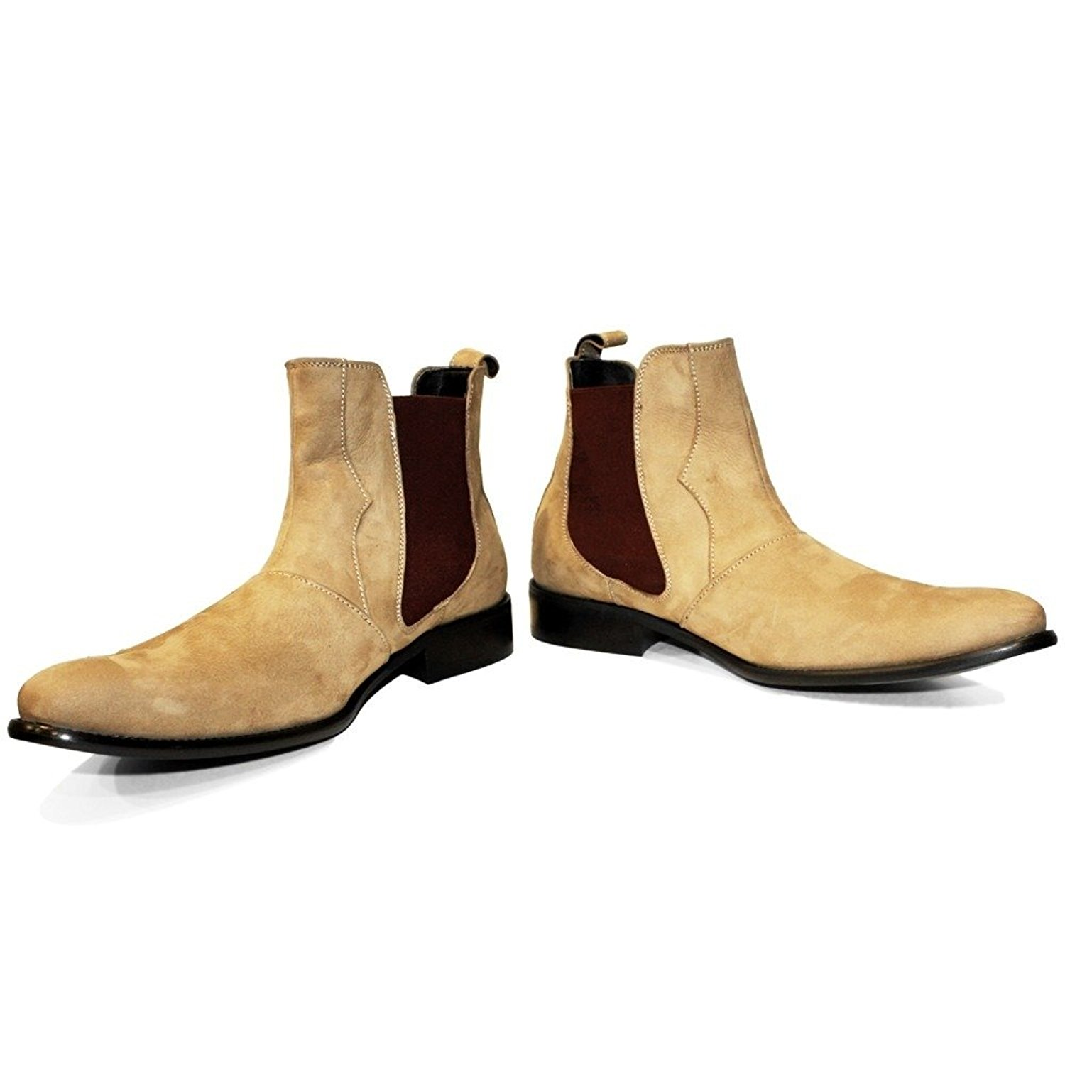 PeppeShoes Modello Lethero - Handmade Italian Mens Brown Ankle Chelsea Boots - Cowhide Suede - Slip-On
