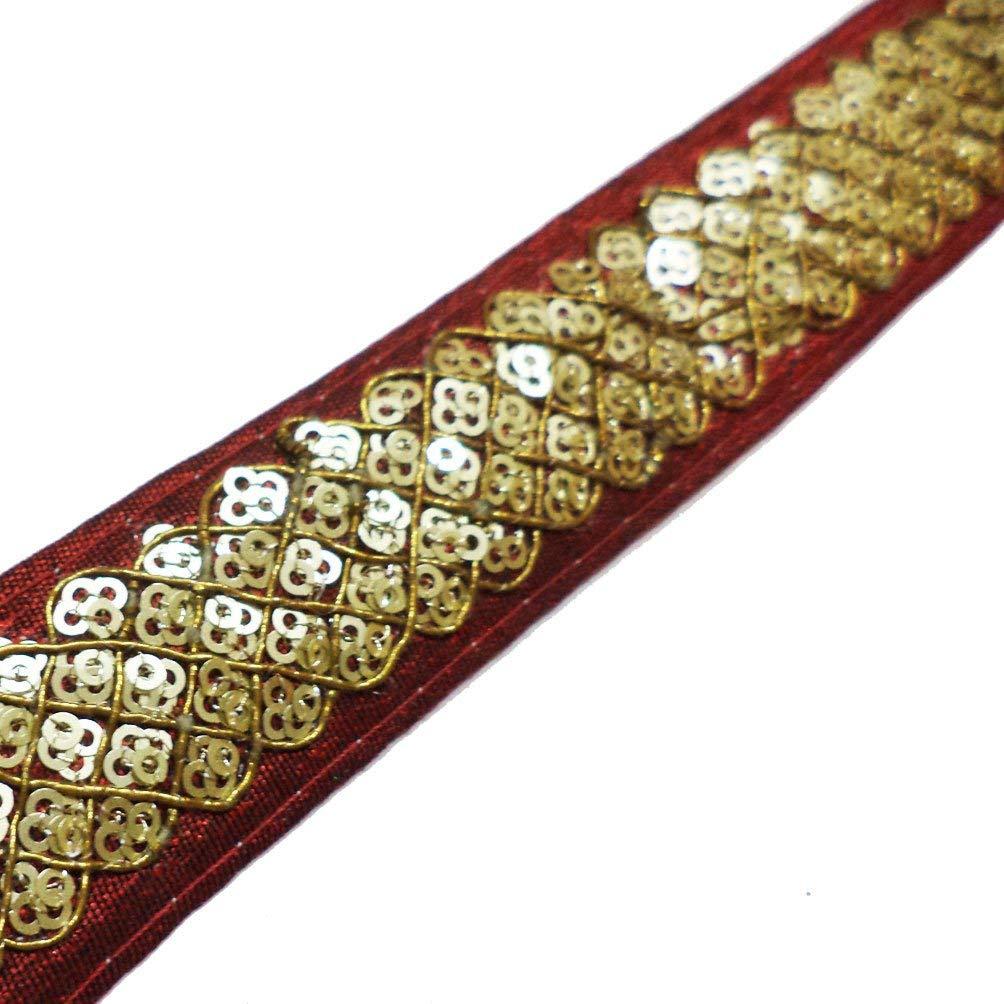 e1464de9f52b Buy Indian Sewing Lace Trim Golden Sari Border 1 Yard Home Decor ...