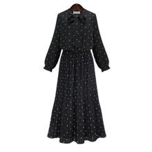 [EAM] 2019 Новинка весны с длинными рукавами и круглым вырезом сплошной черный шифоновое в горошек Свободные Большой Размеры платье Для женщин ...(Китай)