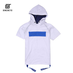 2019 Fashion Trendy loose rubber printing Short Sleeves tshirt with hood, Guangzhou Manufactory Wholesale mens t shirt