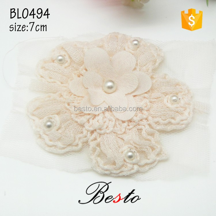 High quality populr ivory mesh flower emboridery patch for girl dresses