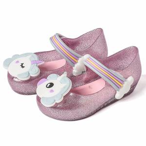 21f27080349e 2018 Unicorns Design Girls Shoes Soft Jelly Shoes Kids Summer Sandals