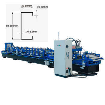 Metal Structure C Profile Purlin framing machine with high efficient punching and cutting system C 70-200