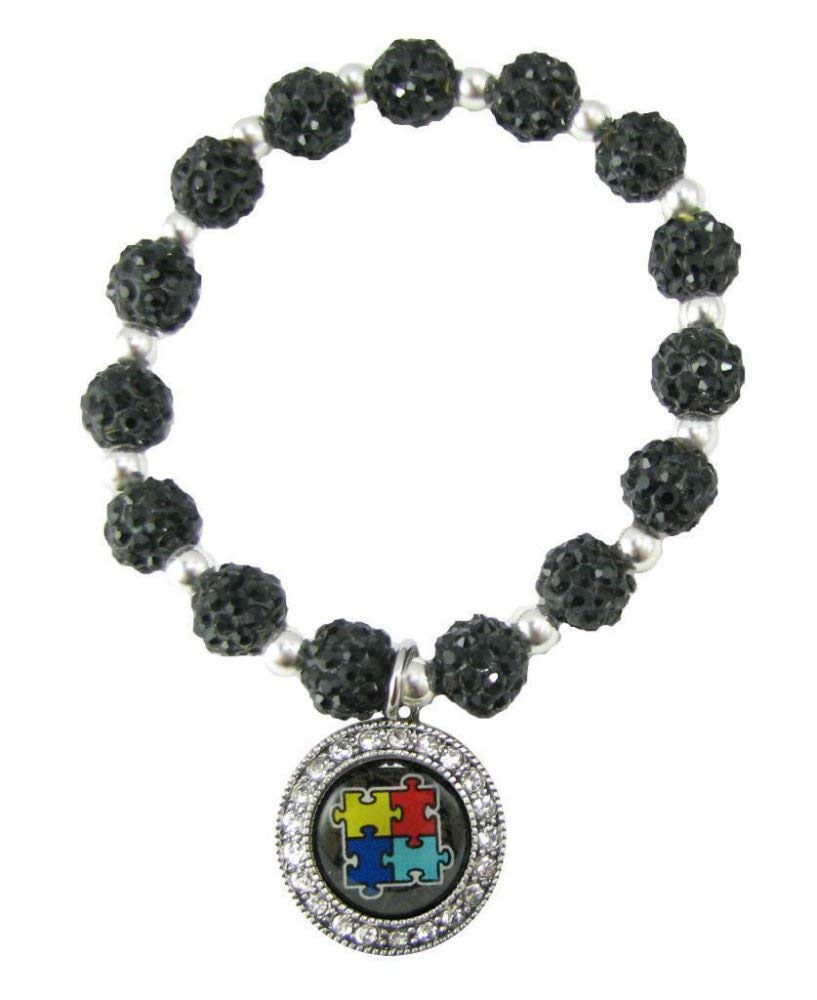 Autism Awareness Black Crystal Jeweled Bead Bracelet Circle Charm Puzzle Gift